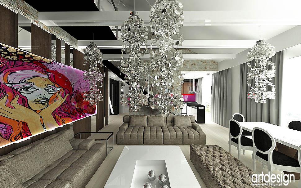 wnetrze styl loftowy elementy glamour sztuka