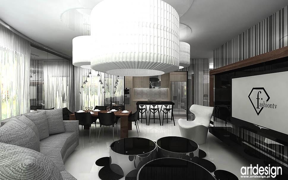 Wnętrza apartamentu – Gdańsk Salon, kuchnia, jadalnia  Projektowanie wnętr   -> Salon Kuchni Gdansk