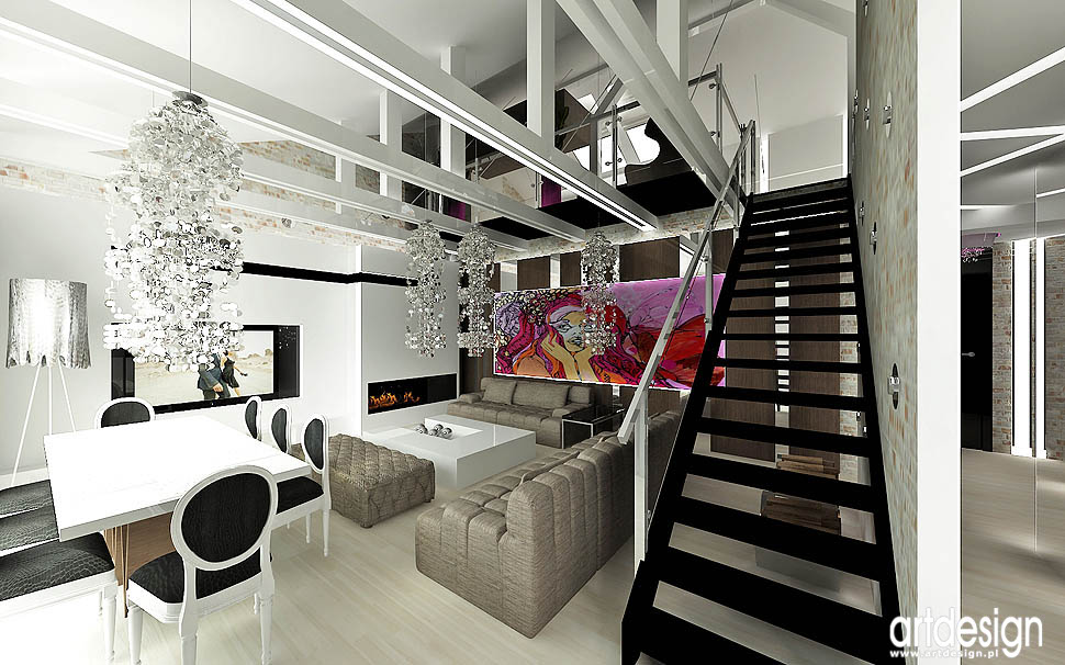 wnetrza styl loft elementy vintage glamour design
