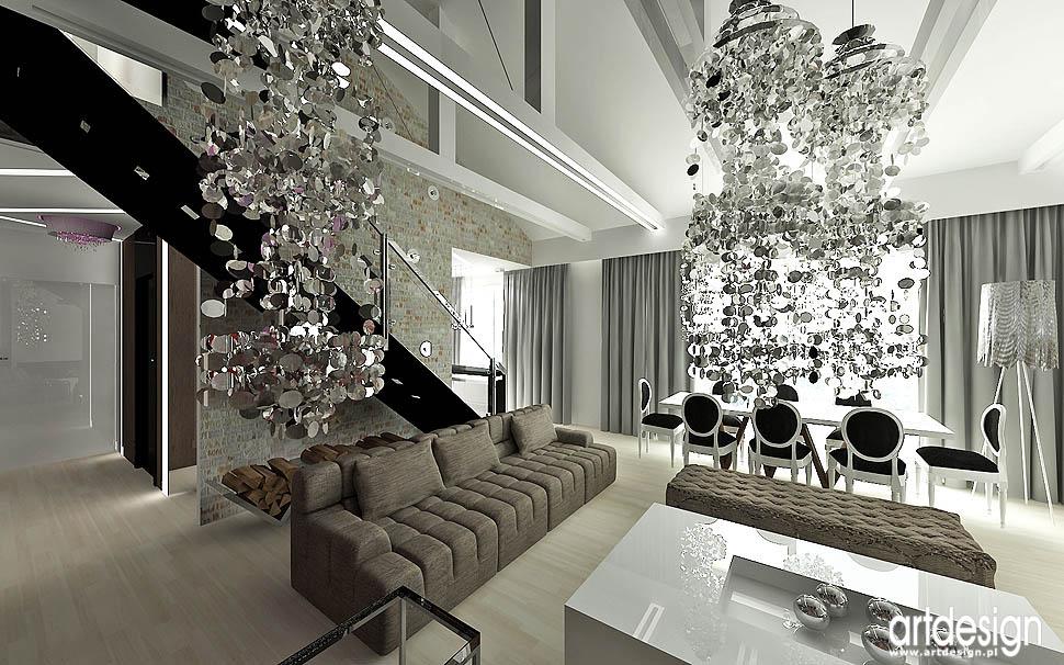 wnętrza nowoczesne styl loft glamour design