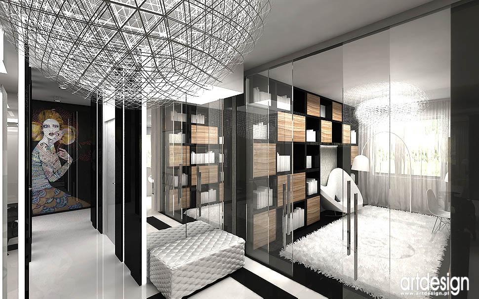 design gabinet biblioteka w apartamencie wnetrza