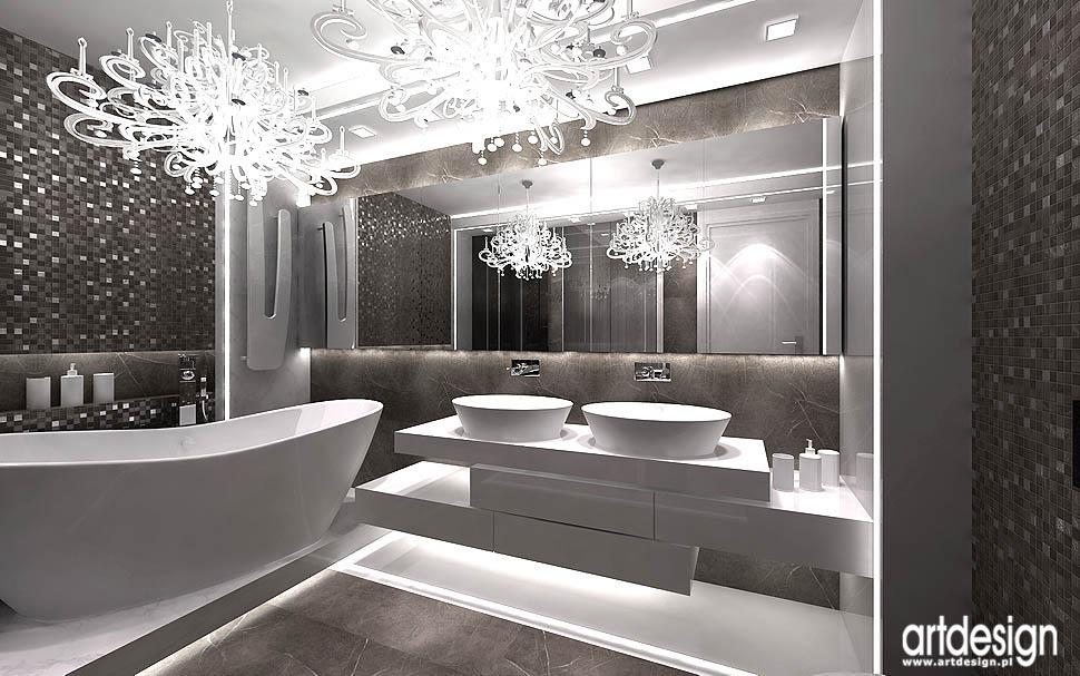 projekt luksusowego apartamentu Kraków łazienka przy sypialni