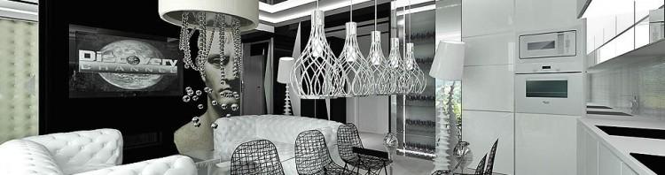 architektura wnetrza apartament nowoczesny design salon kuchnia jadalnia