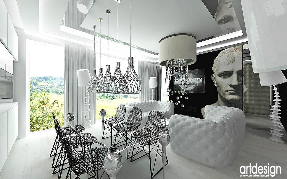 projekty wnetrza apartament nowoczesny design salon z jadalnia
