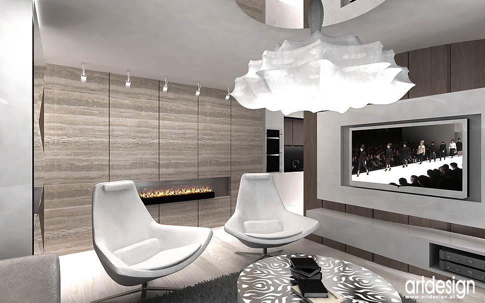 architekci wnetrz apartament kominek gazowy w salonie