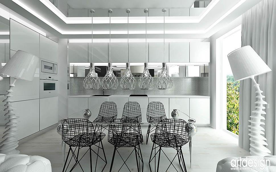 design aranżacja apartament projekt kuchni z jadalnią