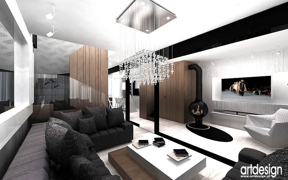 projekt wnetrz dom architekci luksusowy salon z kominkiem