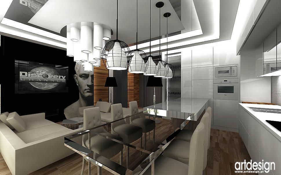 aranżacja nowoczesnego apartamentu salon z kuchnią i jadalnią