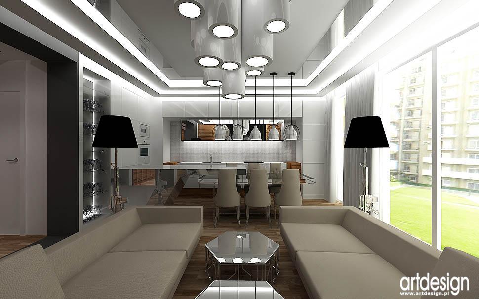 projekt wnetrza apartamentu kraków otwarta kuchnia w mieszkaniu