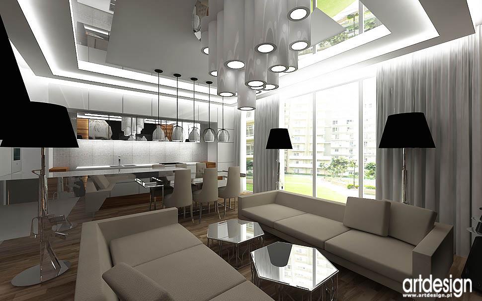 design wnetrza projekty nowoczesny apartament kuchnia z jadalnią