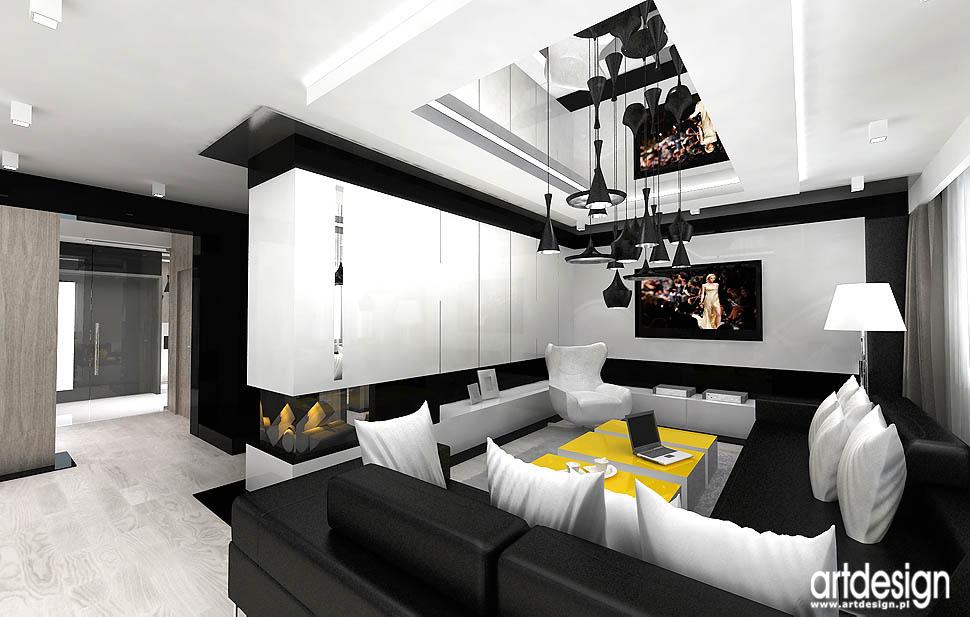wnętrza projektowanie realizacje salon z kominkiem