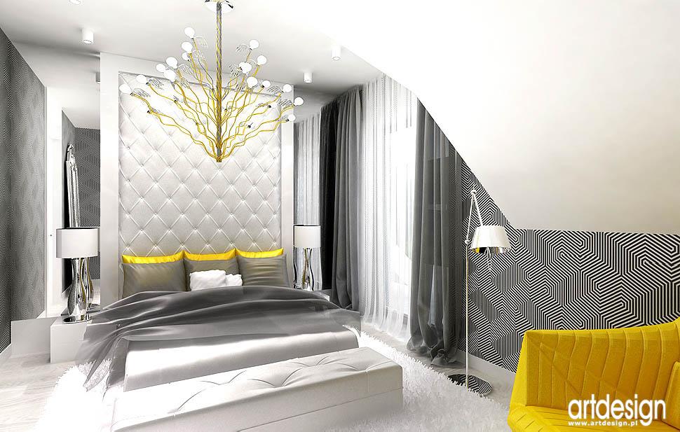 aranżacja architektura wnętrze sypialnia na poddaszu