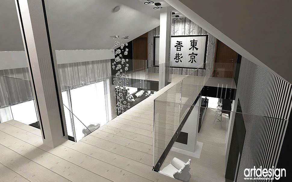 aranżacja wnętrza domu z antresolą