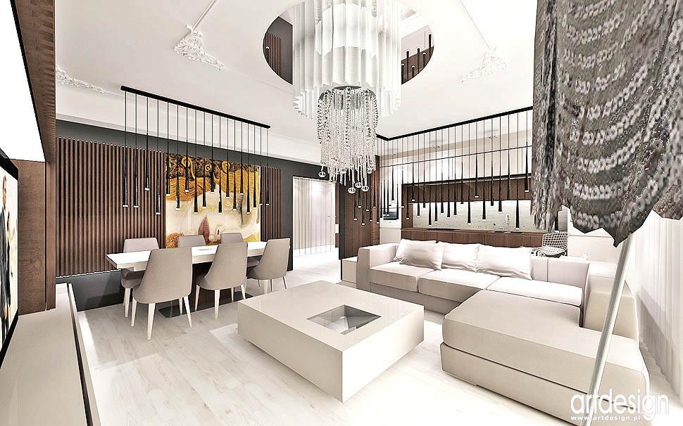 wnętrza styl nowoczesny mieszczański apartament luksusowy Kraków salon z kuchnią