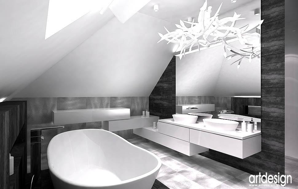 design łazienka na poddaszu projekt