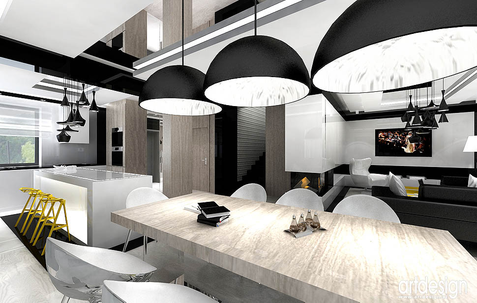 architektura wnetrza nowoczesne salonu jadalni