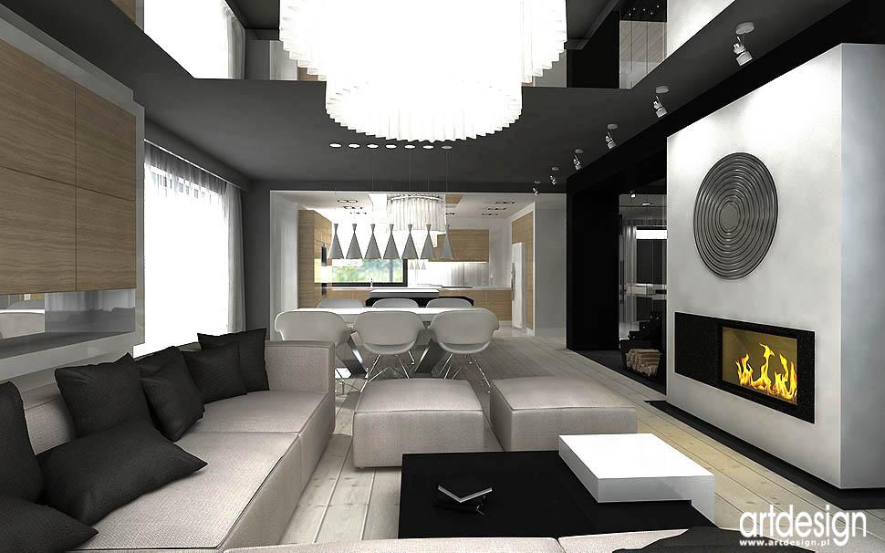 wnętrza nowoczesnych domów salon z kominkiem