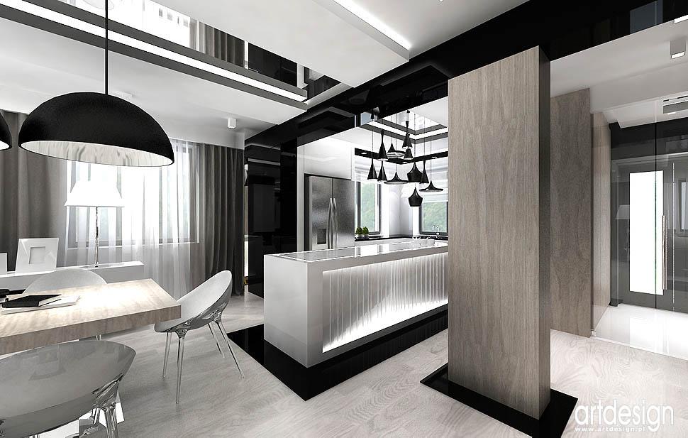 projekty wnętrza nowoczesne kuchnia z jadalnią