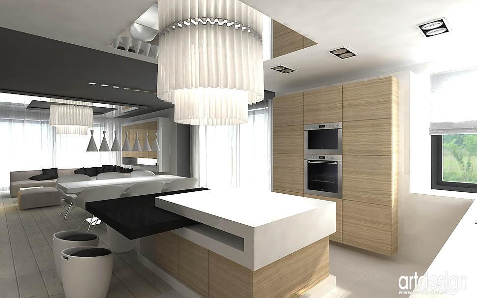 wnetrza domów nowoczesnych kuchnia i jadalnia