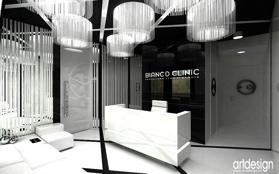 projekty wnętrz gabinety stomatologiczne recepcja z poczekalnią