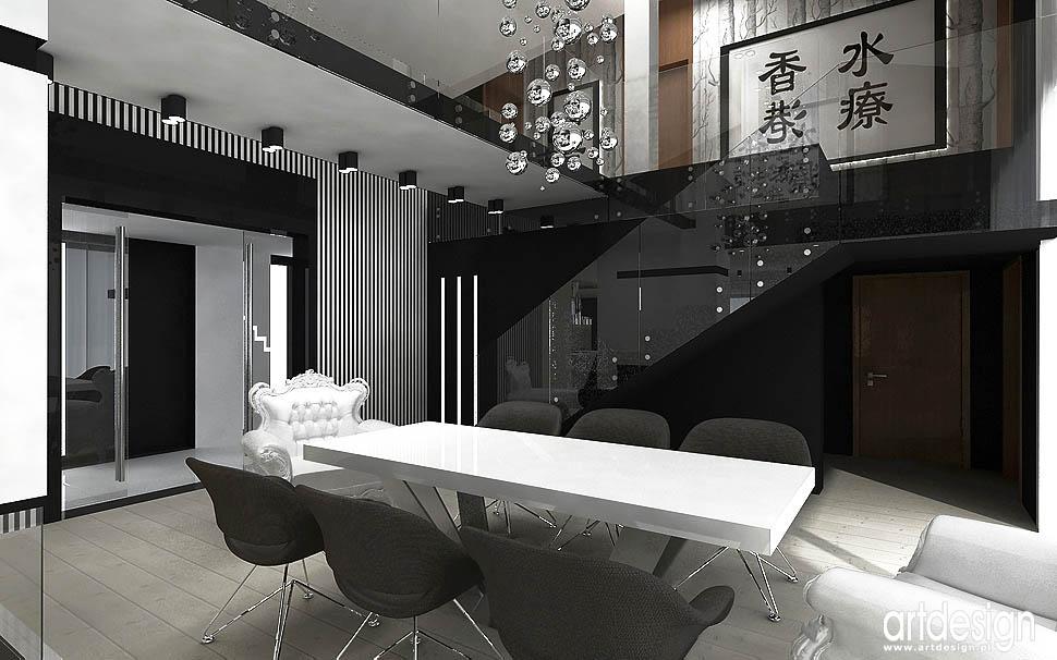 design nowoczesnego wnętrza domu projekt jadalnia schody