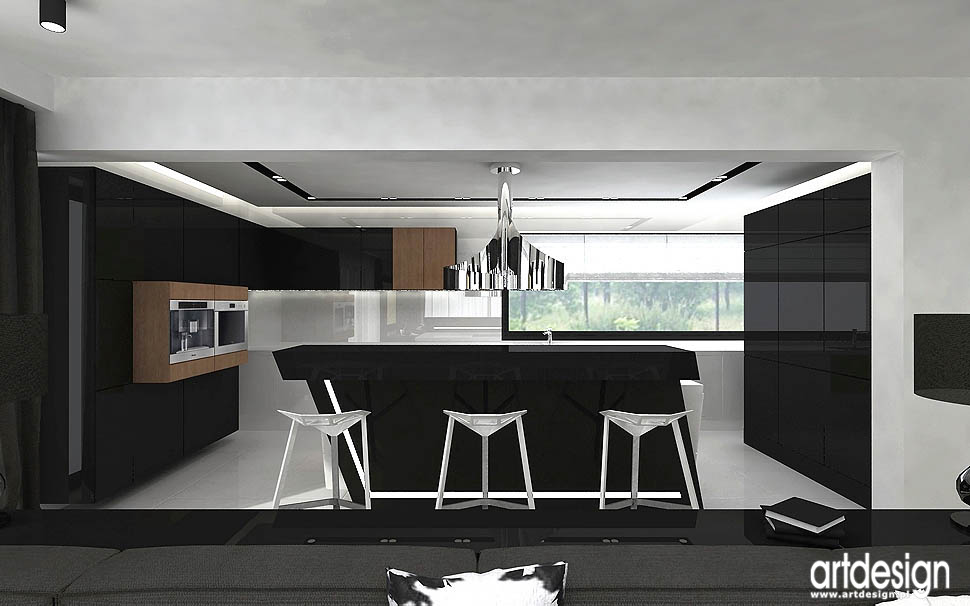 projekty wnętrz mieszkań apartamentów otwarta kuchnia