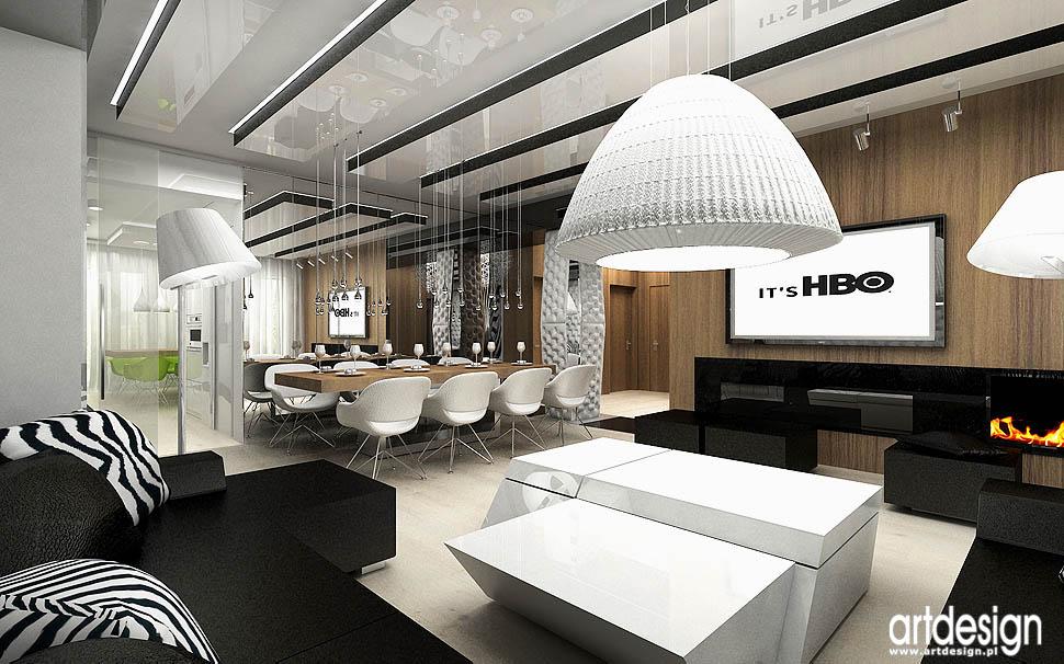 architektura wnetrz apartament pokazowy salon jadalnia