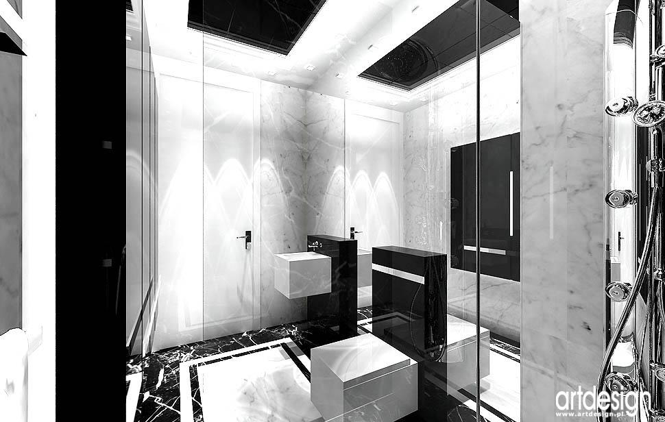 projekty lazienki czarno bialej design