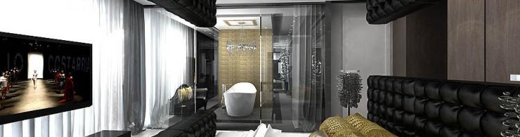 luksusowa designerska sypialnia z lazienka
