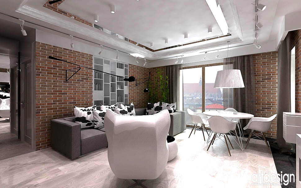 projekty wnetrza loft cegla