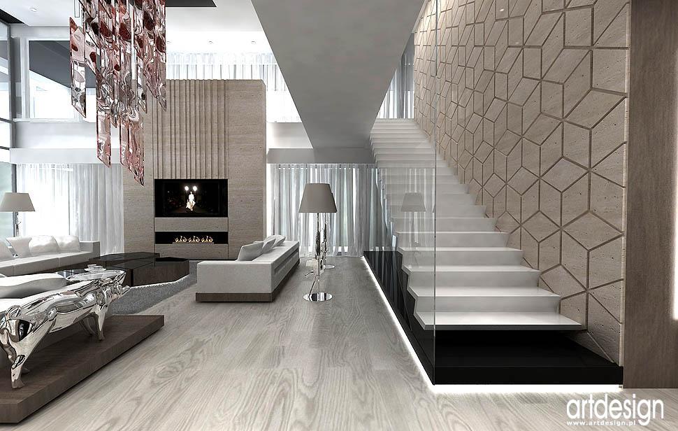 wnetrza antresola schody wspornikowe dywanowe projekty aranzacje dom salon