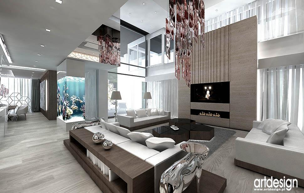 luksusowa aranzacja dom z antresola aranzacja akwarium w salonie