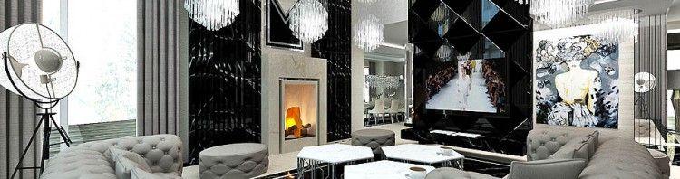 luksuowe wnetrza domow salon z kominkiem