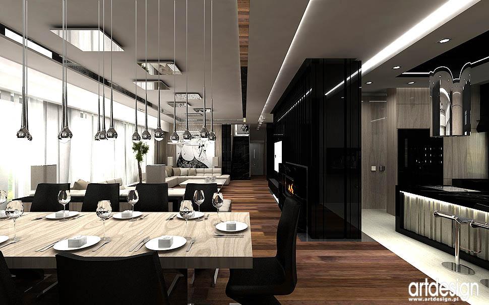 luksusowy design wnetrz ekskluzywne niepowtarzalne projekty jadalnia polaczona z salonem