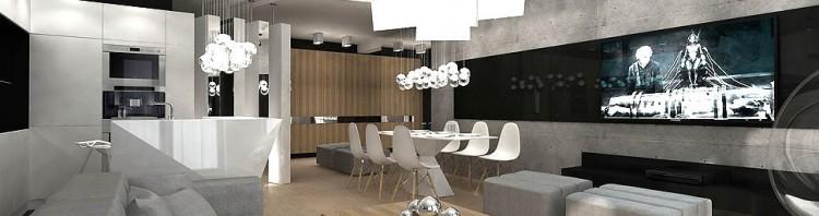 minimalizm wnetrza nowoczesne pokoj dzienny z kuchnia