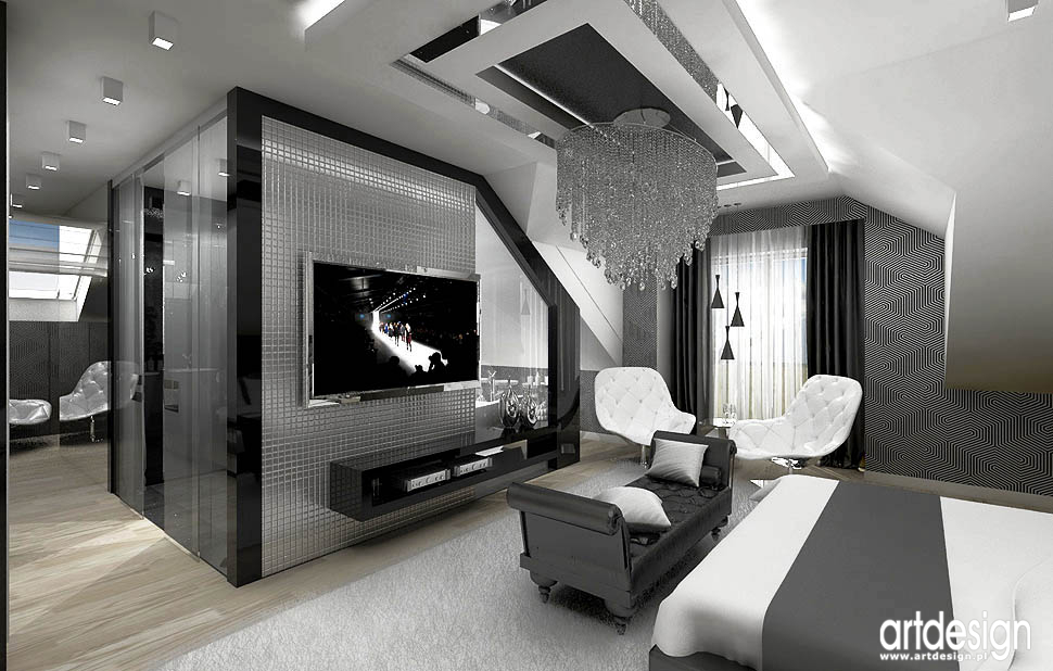wnetrze sypialni czarno bialej design