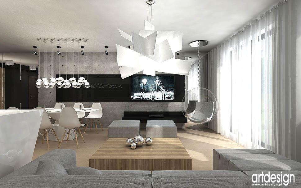 projekty nowoczesnych minimalistycznych wnetrz pokoj dzienny apartament