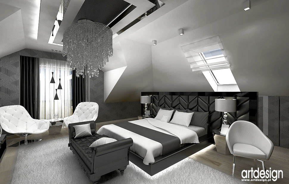 wnetrza aranzacja sypialnia black white