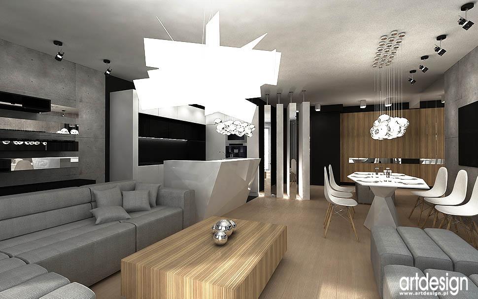 archiektura wnetrz apartamentu styl nowoczesny salon kuchnia