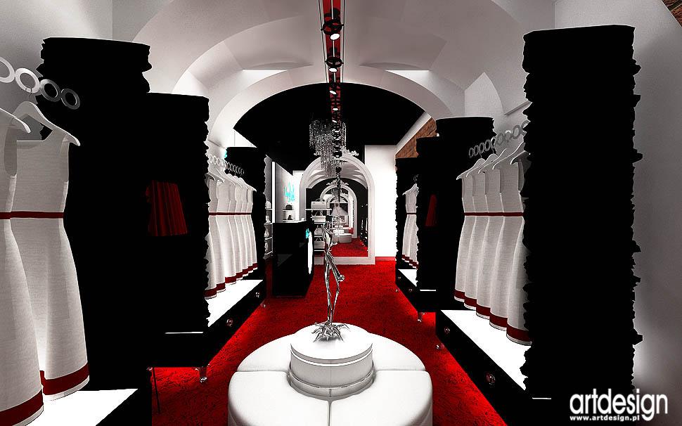 projekty wnetrza aranzacje sklep salon butik z luksusowa odzieza torebkami