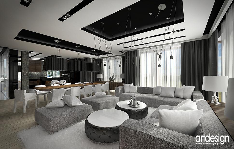 wnetrza luksusowe projekty salonu jadalni