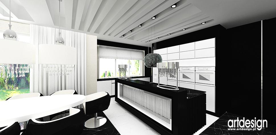 wnetrza luksusowe black white dom kuchnia
