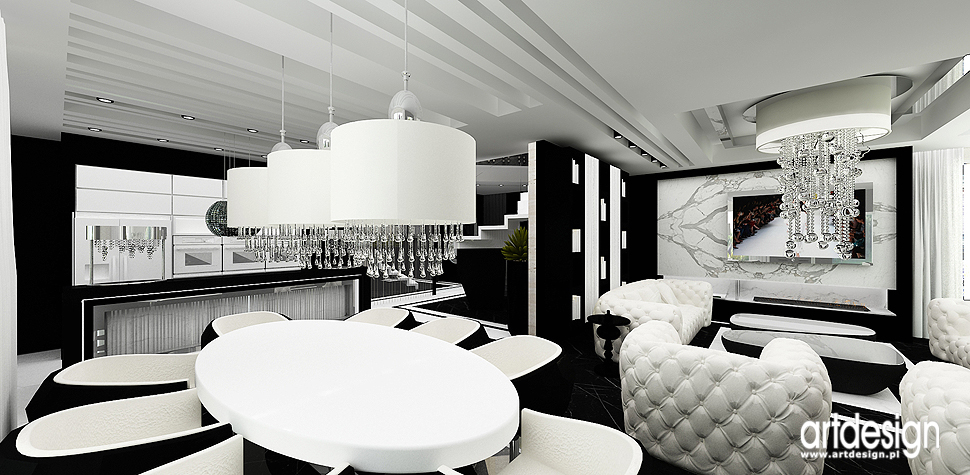wnetrza projekty bialo czarne salonu jadalni