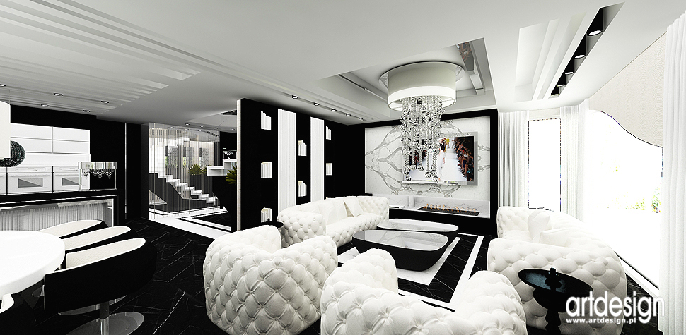 wnetrza luksusowe aranzacje bialo czarne