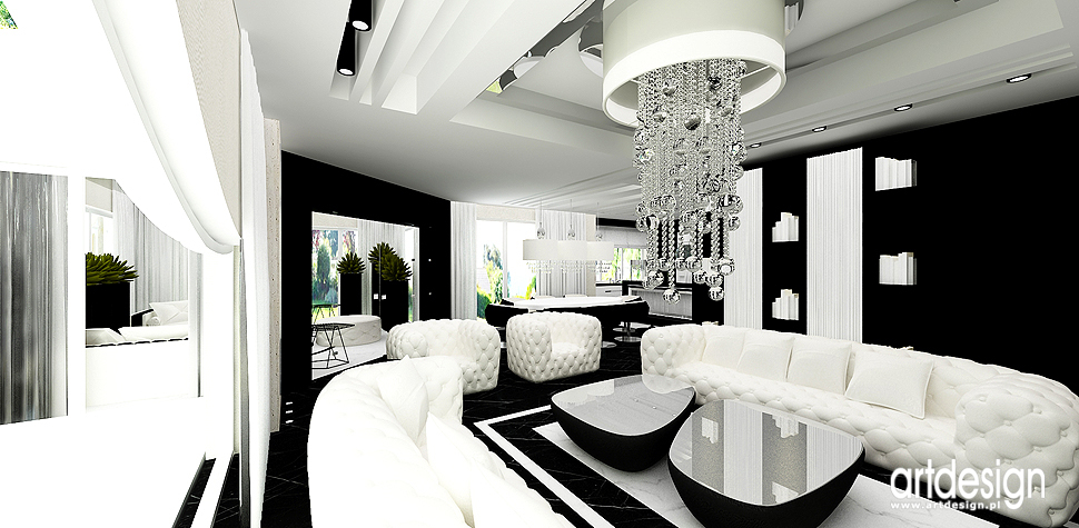 architektura wnetrz luksusowego domu salonu