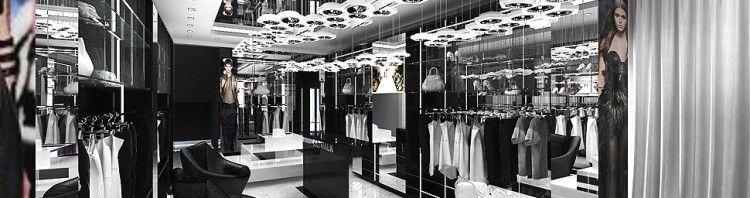 wnetrze eksluzywnego luksusowego butiku sklepu z odzieza salonu sprzedazy salonow sprzedazy