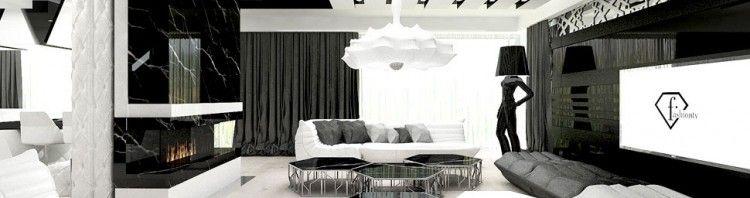 wnetrze luksusowe czarno biale domu