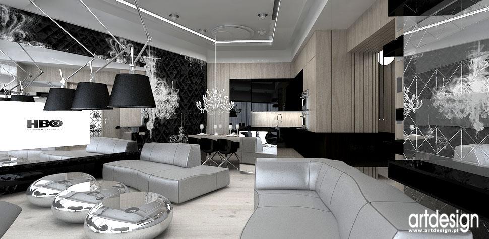 projekty wnetrz luksusowych salon z kuchnia