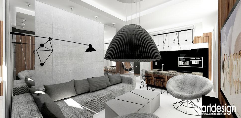 wnetrza loftowe nowoczesne salon z kuchnia
