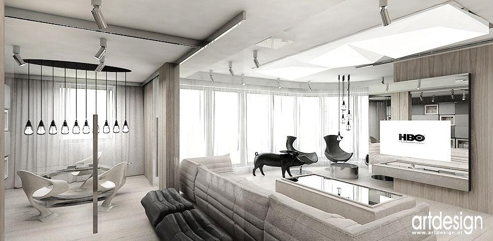 nowoczesne wnetrze salonu apartament